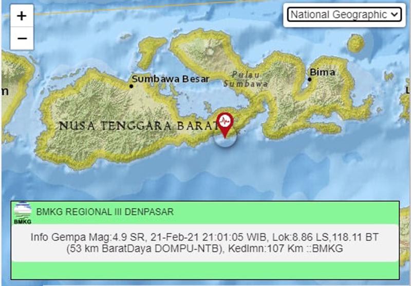 Gempa Tektonik M 4,9 Guncang Bima dan Dompu