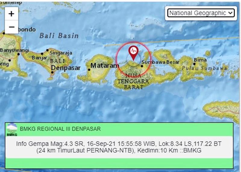 Gempa M 4,3 Guncang Sumbawa, Pusat Gempa di Pernang - Gempa Sumbawa