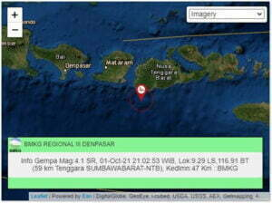 Gempa M 4,1 Berpusat di Sumbawa Barat, Getaran Dirasakan di Lombok Timur dan Lombok Tengah - Gempa Sumbawa Barat - Info Gempa Bumi BMKG